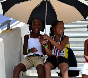 Tori & Taliyah - J.O. Qualifiers enjoying some shade in the Texas heat!!!!  (2012)