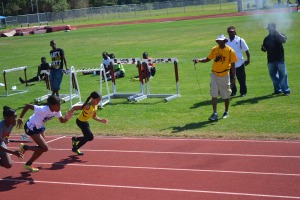 Taliyah 60m start @ Hallandale All-Comers against M/HS athletes (2013)